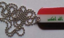Iraq flag dog tag hanger necklace